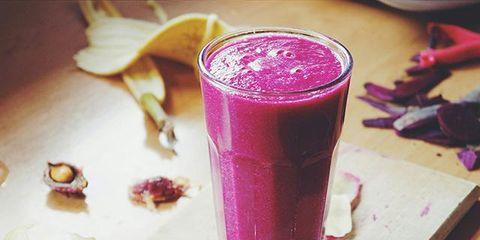 Drink, Health shake, Vegetable juice, Magenta, Purple, Juice, Ingredient, Smoothie, Carmine, Tableware,