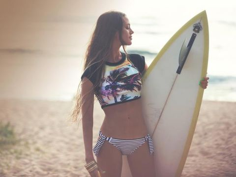 Surfboard, Surfing Equipment, Standing, People in nature, Summer, Surface water sports, Undergarment, Beauty, Swimsuit top, Brassiere,