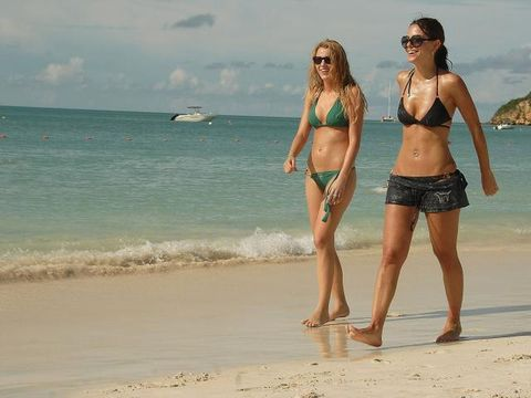 Clothing, Brassiere, Fun, Sunglasses, People on beach, Swimwear, Swimsuit top, Summer, Beach, Bikini,
