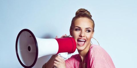 Megaphone, Pink, Magenta, Beauty, Lipstick, Tooth, Earrings, Makeover, Photo shoot, Portrait photography,