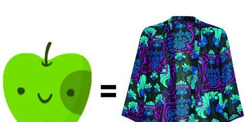 Green, Sleeve, Fruit, Produce, Apple, Granny smith, Natural foods, Logo, Purple, Pattern,