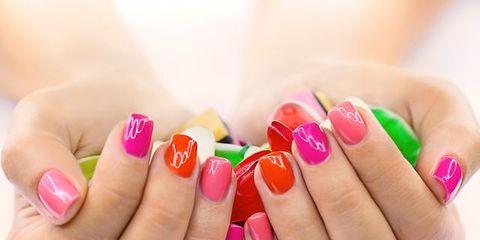 Finger, Yellow, Skin, Nail, Nail polish, Red, Nail care, Pink, Magenta, Manicure,