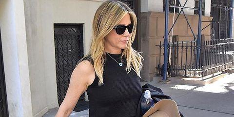 Shoulder, Clothing, Eyewear, Street fashion, Sunglasses, Waist, Jeans, Joint, Fashion, Blond,