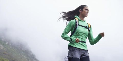 People in nature, Atmospheric phenomenon, Mist, Youth, Hill station, Knee, Exercise, Jacket, Bag, Running,