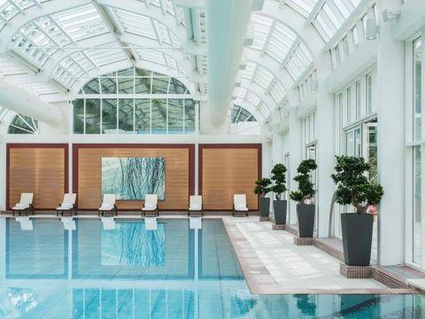 Swimming pool, Interior design, Ceiling, Flowerpot, Real estate, Floor, Fixture, Daylighting, Hall, Interior design,