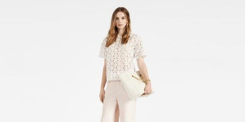 Clothing, Brown, Sleeve, Shoulder, Collar, Standing, Joint, Style, Bag, Street fashion,