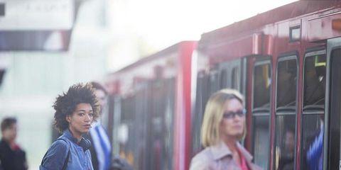 Mode of transport, Transport, Public transport, Rolling stock, Passenger, Street fashion, Bag, Urban area, Railway, Travel,
