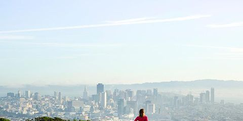 Daytime, Tower block, Urban area, City, Metropolitan area, Cityscape, Horizon, Atmospheric phenomenon, Jogging, Skyscraper,