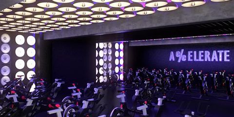 Exercise machine, Purple, Indoor cycling, Exercise equipment, Stationary bicycle, Gym, Dumbbell, Carbon, Physical fitness, Multimedia,