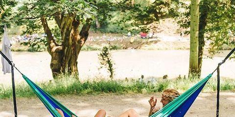 Hammock, Leisure, Tree, Swing, Grass, Fun, Vacation, Outdoor play equipment, Camping, Jungle,
