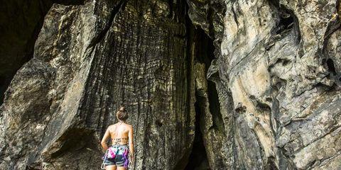 Rock, Human leg, Bedrock, Outcrop, Adventure, Formation, Geology, Calf, Swimwear, Back,