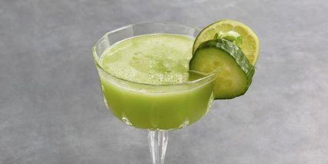 Green, Drink, Glass, Tableware, Cocktail, Fruit, Citrus, Liquid, Drinkware, Alcoholic beverage,