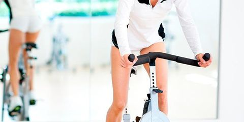 Stationary bicycle, Indoor cycling, Cycling, Vehicle, Arm, Exercise machine, Leg, Bicycle, Bicycle accessory, Exercise,