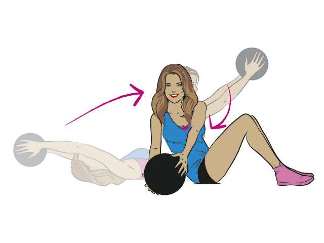 Overhead crunch to rotation from Khloe Kardashian's workout ...