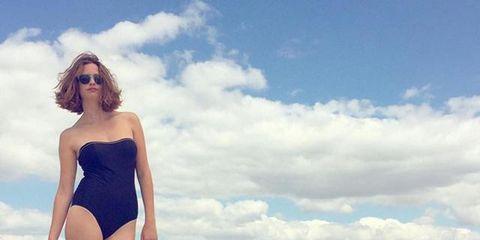 Sky, Cloud, Shoulder, Swimwear, Summer, One-piece swimsuit, Waist, Leotard, Ocean, Vacation,