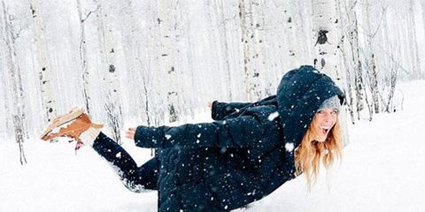 Winter, People in nature, Freezing, Knee, Snow, Street fashion, Playing in the snow, Hood, Precipitation, Knit cap,