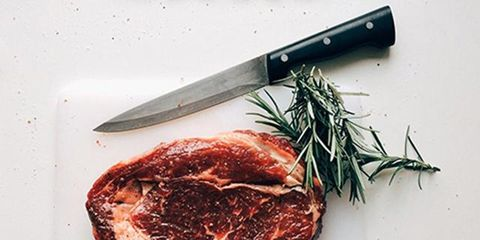 Food, Ingredient, Kitchen utensil, Cuisine, Kitchen knife, Cutlery, Dish, Blade, Red meat, Recipe,
