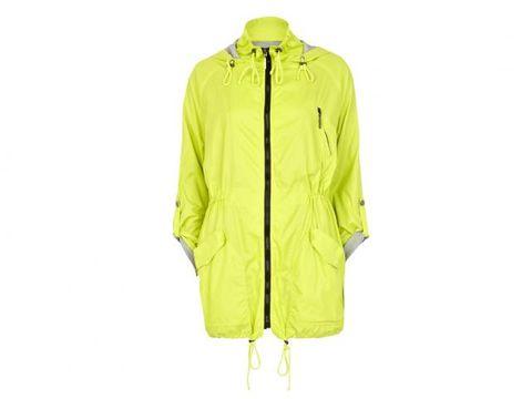 Jacket, Yellow, Sleeve, Collar, Outerwear, Coat, Personal protective equipment, Zipper, Workwear, Windbreaker,