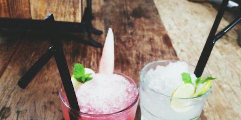 Drink, Cocktail, Tableware, Alcoholic beverage, Classic cocktail, Distilled beverage, Drinkware, Hardwood, Highball glass, Cocktail garnish,