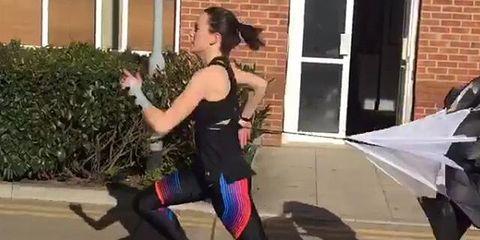 Knee, Thigh, Active pants, Door, Tights, Fictional character, Umbrella, Spandex, Calf, Costume,