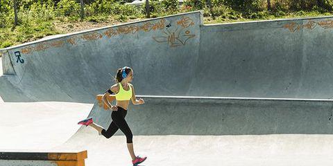 Sport venue, Sports equipment, Recreation, Human leg, Skateboarding, Athletic shoe, Outdoor recreation, Skateboarder, Skatepark, Boardsport,