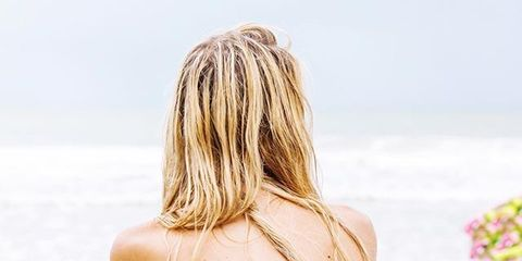 Hairstyle, Shoulder, Textile, People in nature, Back, Summer, Beauty, Tan, Long hair, People on beach,