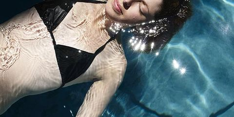 Swimming pool, Black hair, Chest, Model, Fashion model,