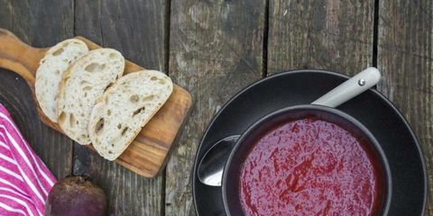 Food, Ingredient, Condiment, Bread, Magenta, Cutting board, Dish, Cookware and bakeware, Root vegetable, Kitchen utensil,