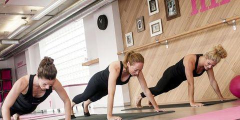 Arm, Physical fitness, Shoulder, Exercise, Flooring, Room, Human leg, Joint, Wrist, Balloon,