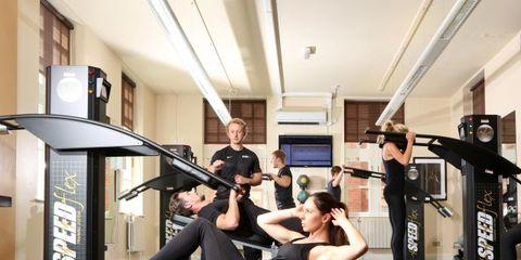 Lighting, Room, Physical fitness, Flooring, Exercise equipment, Exercise machine, Exercise, Knee, Training, Gym,