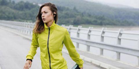 Clothing, Yellow, Outerwear, Jacket, Sportswear, Fashion, Running, Street fashion, Footwear, Recreation,