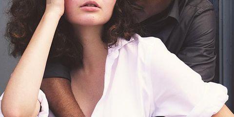 White, Hair, Skin, Beauty, Shoulder, Arm, Lip, Long hair, Photo shoot, Cool,