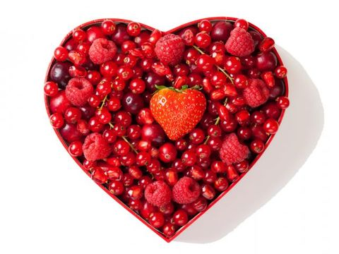 Red, Produce, Fruit, Heart, Natural foods, Pattern, Ingredient, Carmine, Love, Berry,
