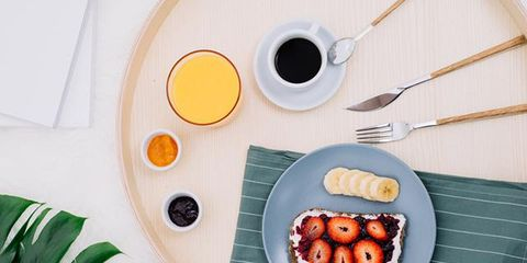 Breakfast, Meal, Plate, Food, Table, Room, Technology, Dishware, Dish, Fruit,
