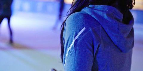Back, Street fashion, Electric blue, Sweater, Hood, Hip, Working animal, Sweatshirt, Pack animal, Hoodie,