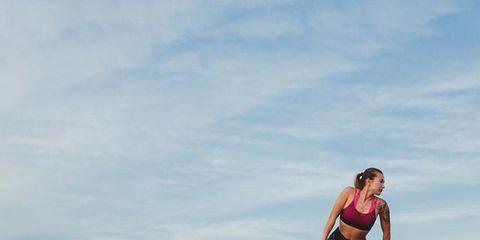 Sky, Recreation, Footwear, Landscape, Knee, Sports, Cloud, Running, Sports training, Happy,