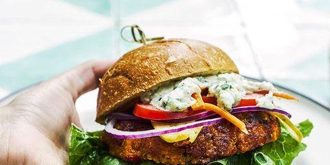 Dish, Food, Cuisine, Ingredient, Veggie burger, Hamburger, Produce, Buffalo burger, Recipe, Slider,