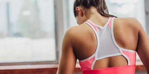 Undergarment, Brassiere, Undergarment, Sports bra, Clothing, Shoulder, Abdomen, Waist, Muscle, Stomach,