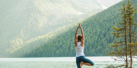Human leg, Exercise, People in nature, Physical fitness, Summer, Knee, Active pants, Lake, Waist, Yoga,