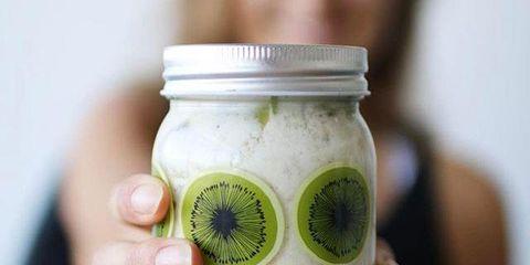 Mason jar, Green, Food, Kiwifruit, Plant, Superfood, Preserved food, Fruit,