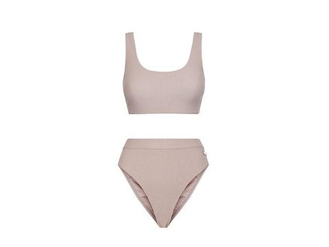 518cb72d563 Gymshark Swimwear Essence, available in Peach Coral or Taupe, top from  £22.00 bottom from £18.00.