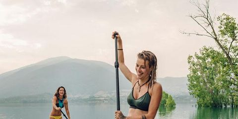 Stand up paddle surfing, Paddle, Surface water sports, Fun, Recreation, Vacation, Bikini, Summer, Swimwear, Boating,