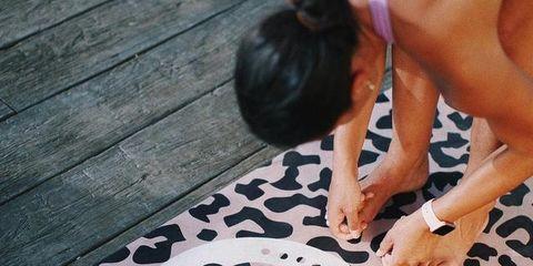 Floor, Leg, Play, Flooring, Hand, Canidae, Pattern, Human leg, Non-Sporting Group, Fawn,